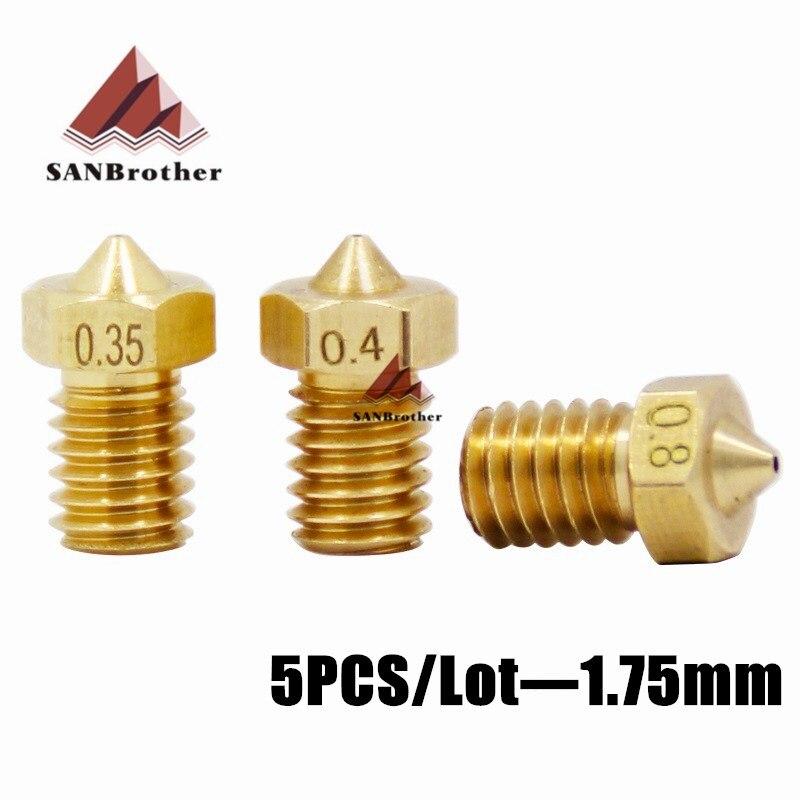 5PCS/Lot 3D Printer E3D M6 Nozzles J-Head Brass Nozzle V5 V6 1.75mm Supplies Extruder Nozzles High Quality Nozzles