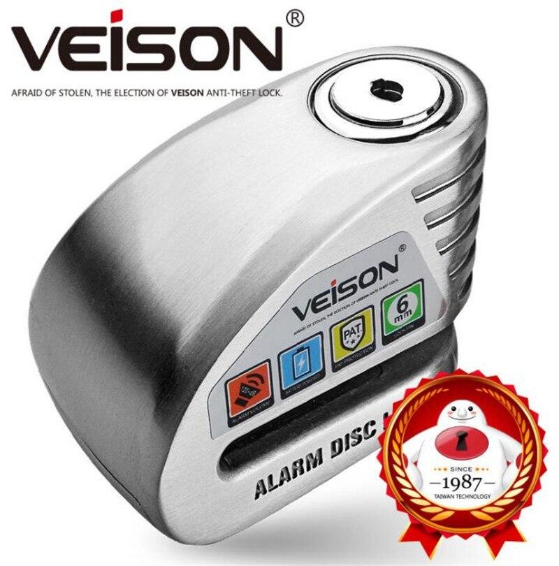 VEISON Motorbike Waterproof  Anti-theft 130dB Alarm Lock Motorcycle Bike Disc Security Warning Lock 6mm Pin Brake Lock