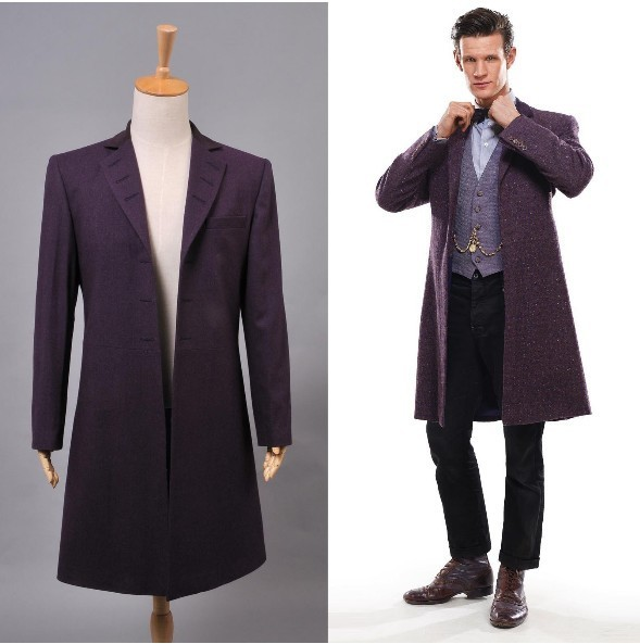 New Arrival Who Is Doctor Eleventh 11th Dr Purple Wool Frock Coat Costume