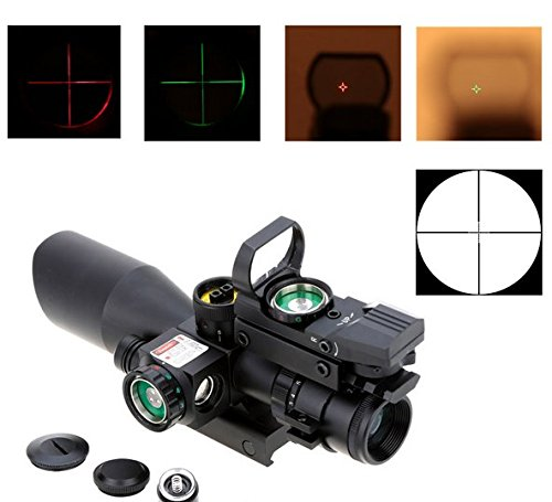 2.5-10X40 Red Green dot Sniper Sight + Laser + Reflex Red Green Dot Sight Scope Illuminated Tactical Riflescope 20mm Rail tactical 3 9x40 3 in 1 red dot reflex riflescope with 20mm dovetail red laser optics sniper scope sight for hunting