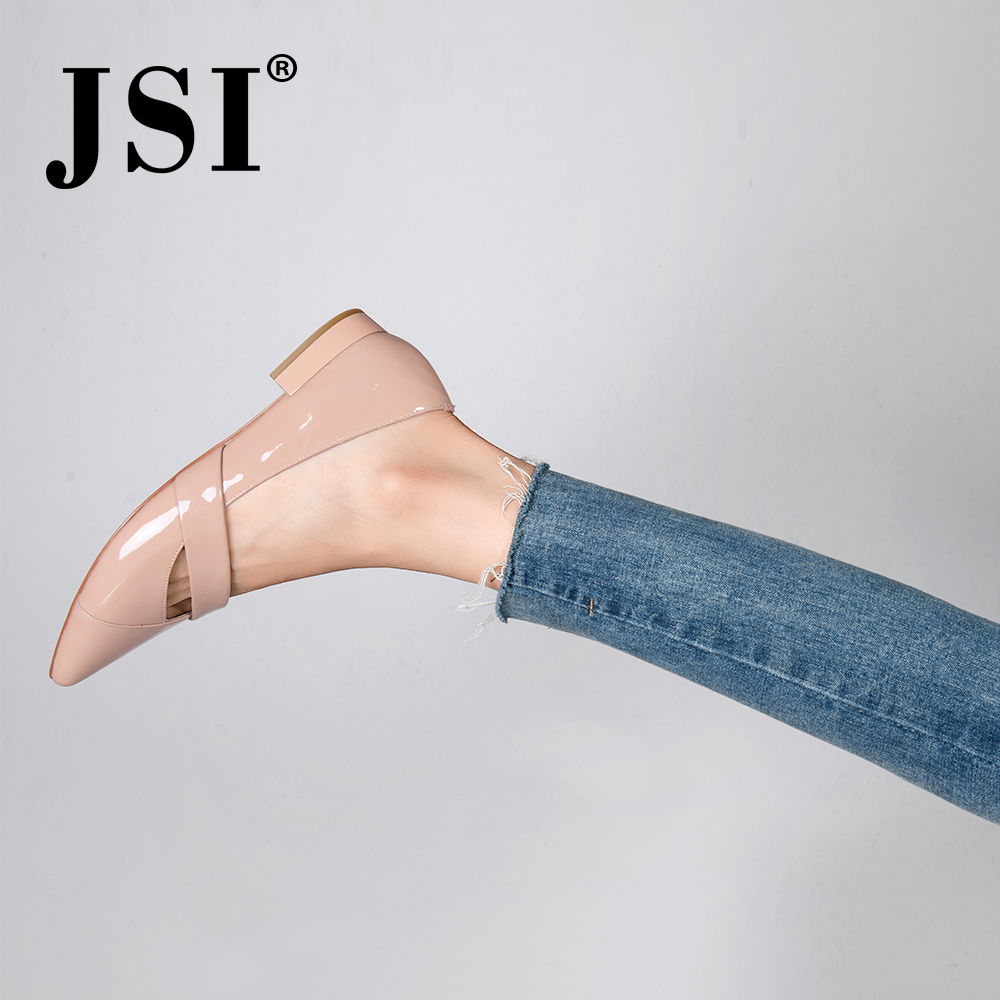 JSI 2019New Arrival Nude Patent Leather Elegant Pointed Toe Female Low Heel Pumps Shallow Concise Mature