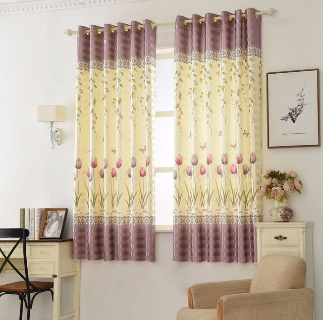 New Polyester Cotton Printed Flowers Short Curtain Bedroom Living Room Modern Minimalist Home Blackout Curtains