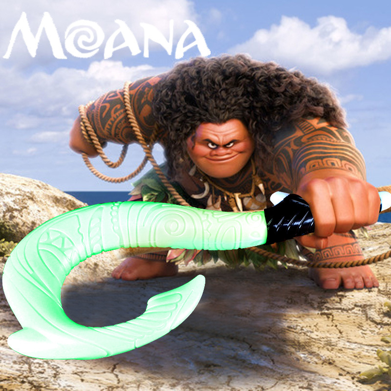 Cool Moana Maui LED Weapons Light Sound Saber Fishing Hook Action Figures Moana light saber maui hook Best children gift gonlei moana waialiki maui heihei abs weapons light sound saber fishing action figures moana adventure abs toy lightsaber gift
