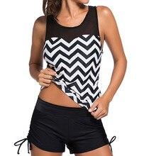 New Mesh Tankini Swimsuits Women Plus Size Swimsuit 2017 Tankini Set Striped Swimwear Bathing Suit Tankini With Shorts Beachwear