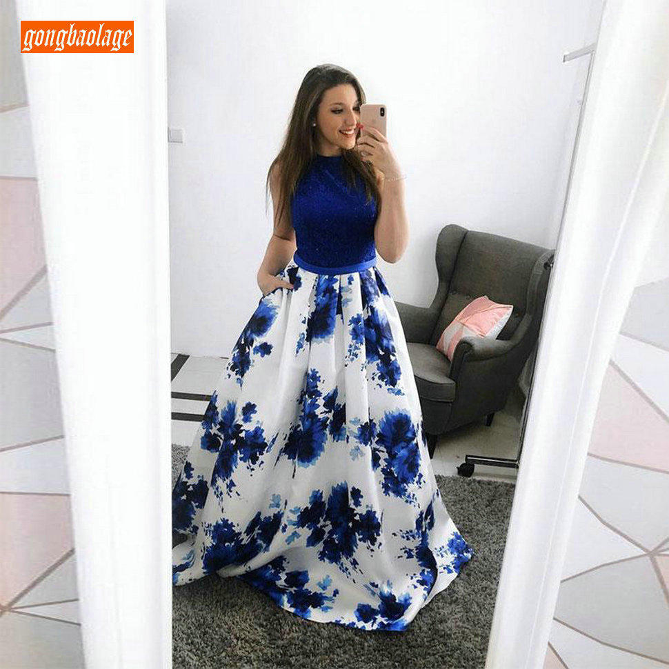 Fashion Dark Blue Bohemian Long   Prom     Dresses   2019 Sexy   Prom     Dress   O-Neck Flimsy Satin Printing A-Line Beach Party Formal Gowns