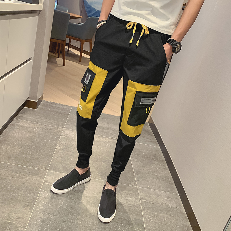 2019 Summer Polyester Joggers Cargo Pants Causal Social Splice Pocket Slim Fit Sweat Pants Men Fashion Plus Size Trousers Male