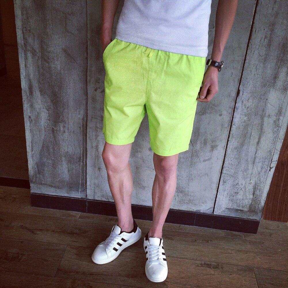 Neon Yellow Khaki Cotton Linen Men Casual Board   Shorts   Fashion Streetwear Bottom   Short   Beach Trunk Breathable Basic Wear