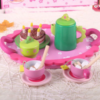 2019 new wooden green simulation snacks afternoon tea set toys children play house toys wooden tea set fake toy cake toys