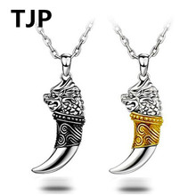 TJP 2018 Hot Sale Wolf Fang Pendants Necklace For Male Jewelry Top Quality 925 Sterling Silver Boyfriend Gift
