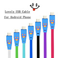 Wholesale 10Pcs/Lot Flat LED Light Smile Face MICRO USB Charger Cable for Samsung HTC Nokia for Xiaomi Android Phones