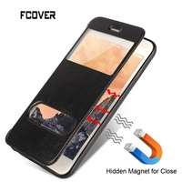 Smart Front Dual Magnetic Window View Flip Case Book Style Stand Leather Case For Iphone 5