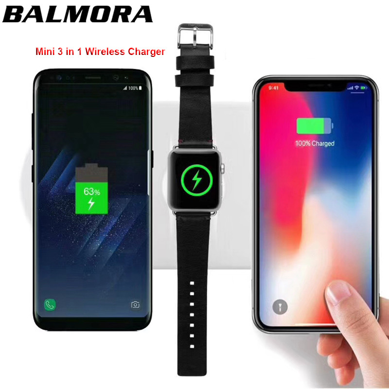 BALMORA 3 in 1 QI Wireless Charger For iPhone X 8plus For iWatch 2 3 Fast Charging Charger Pad For Samsung Note 8 S8Plus S7Edge