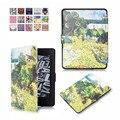 Для Kindle Paperwhite Случае Ван Гог Дизайн Кожи Paperwhite1 Подсветкой Тонкий Кожаный Чехол для Kindle 2 3 2015 6-го поколения