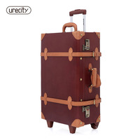 2018 new design pig leather luggage travel bags suitcase wheels carry on leather travel luggage retro brand hard free shiping