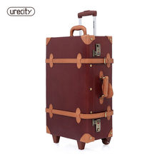 2018 new design pig leather luggage travel bags suitcase wheels carry on leather travel luggage retro brand hard free shiping(China)