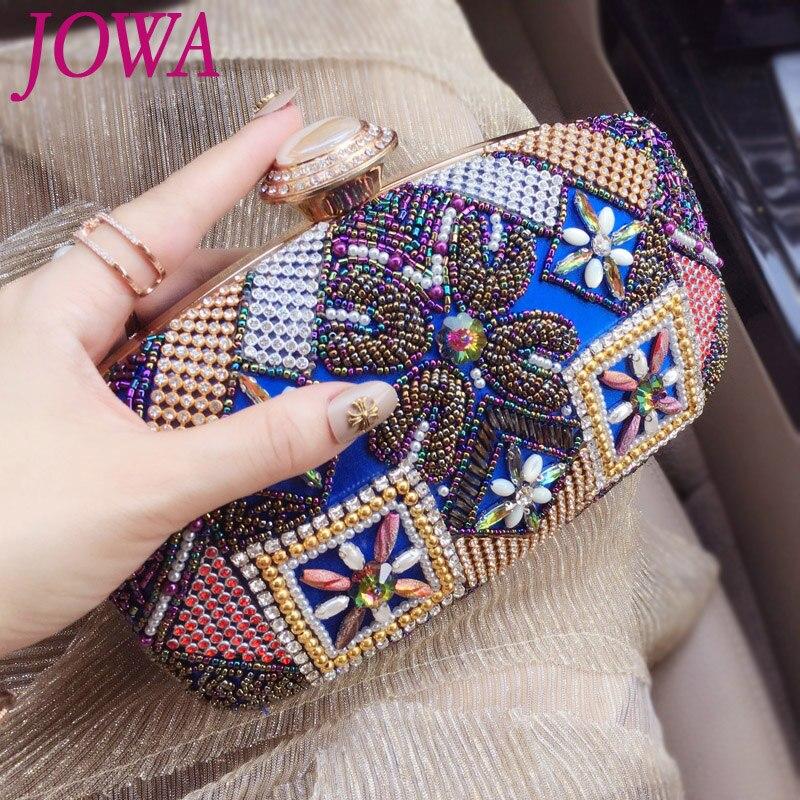 2017 New Design Womens Vintage Evening Bags National Beading Diamond Blue Handbag Wedding Party Bride Package Night Chain Purse