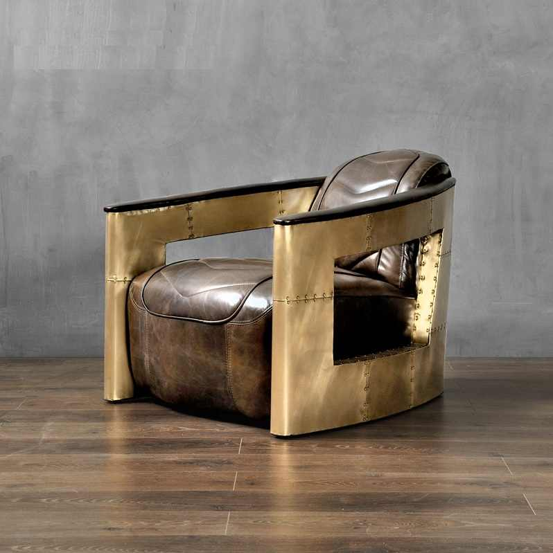 Auto Club  Lounge Chair with Golden Armrest / 71cm High Heavy Metal Style /  Brass Sheet Back