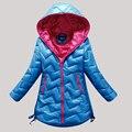 Зима 2017 детей теплое пальто, мода, новые девушки длинные вниз чистый цвет пальто детей с капюшоном вниз куртки и пиджаки дети толщиной топы