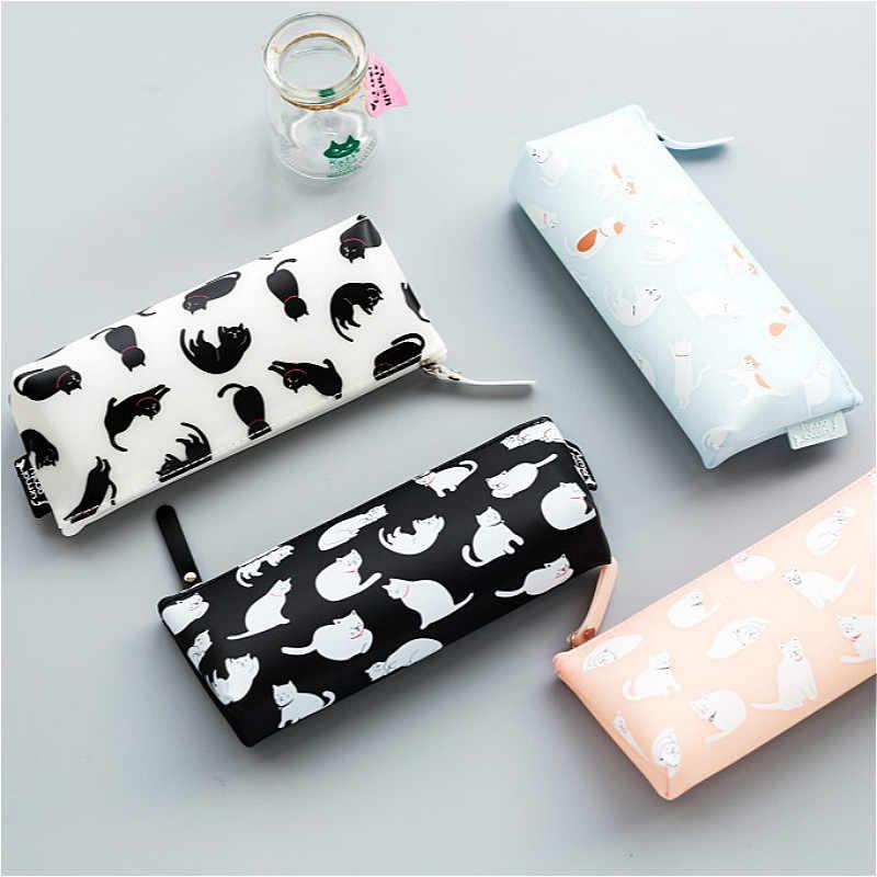 1 sztuk/sprzedaży Jelly Cat silikonowy piórnik Kawaii dziewczyna ołówki torby trwałe przybory szkolne o dużej pojemności biurowe schowek na długopisy