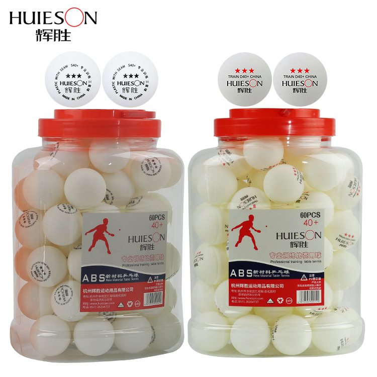 Huieson 60pcs/barrel Professional 3 Star Table Tennis Balls 40+mm 2.8g ABS Plastic Ping Pong Ball Yellow White For Club Training