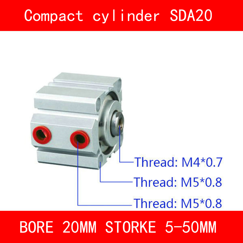 CE ISO SDA20 Cylinder Magnet SDA Series Bore 20mm Stroke 5-50mm Compact Air Cylinders Dual Action Air Pneumatic Cylinder bore size 32mm 5mm stroke sda pneumatic cylinder double action with magnet sda 32 10
