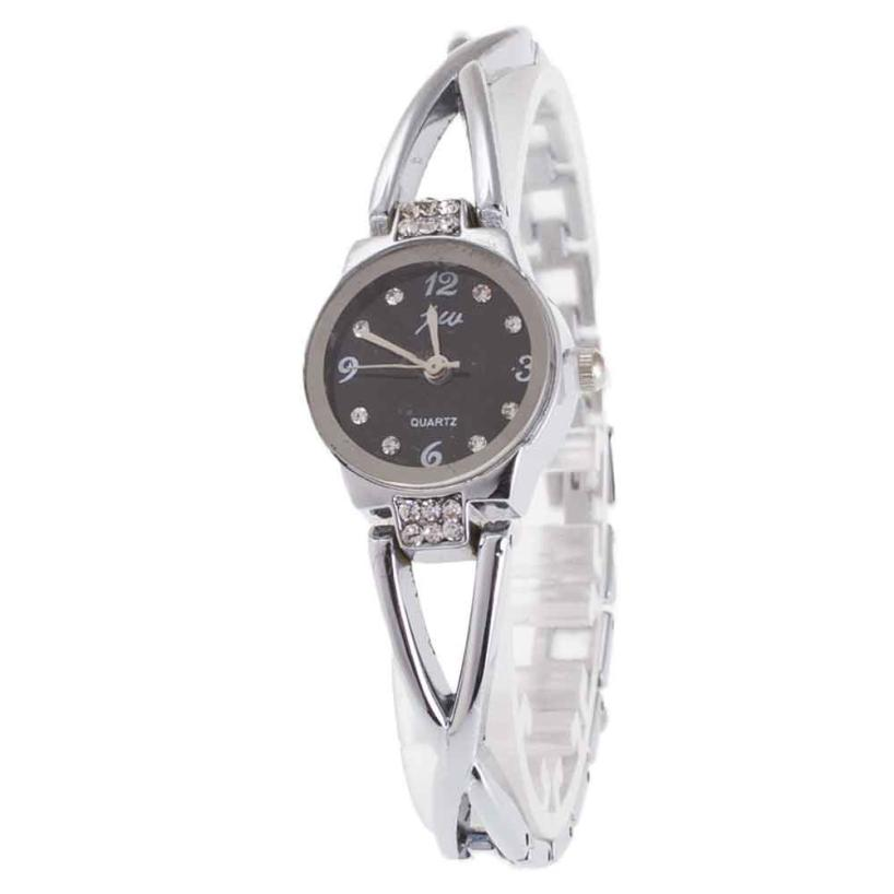 Hot 2017 Newly Designed Popular Fashion Women's Minimalism Rhinestone Golden Stainless Steel Wrist Watch LEVERT DROPSHIP 709