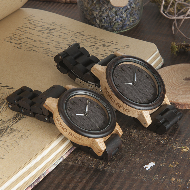 BOBO BIRD L-N14 Couple Wooden Watches 100% Natural Wood Watches Men Women Clock Christmas Gift in Case 1
