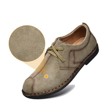 Casual Suede Leather Shoes,Handmade Men Genuine Leather shoes,Fashion Men Flats,Brand New Lace Up Men Suede Shoes 2#D30