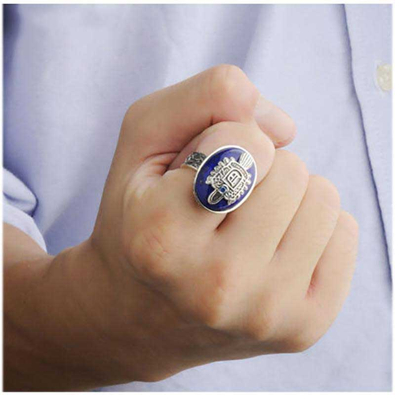 925 Vampire Diaries Ring Genuine 925 Sterling Silver Damon Salvatore Ring Men's and Lapis Natural Stone Fine Jewelry man rings the vampire diaries vampire knight crown ring jewelry gift men s ring gift jewelry 925 sterling silver ring