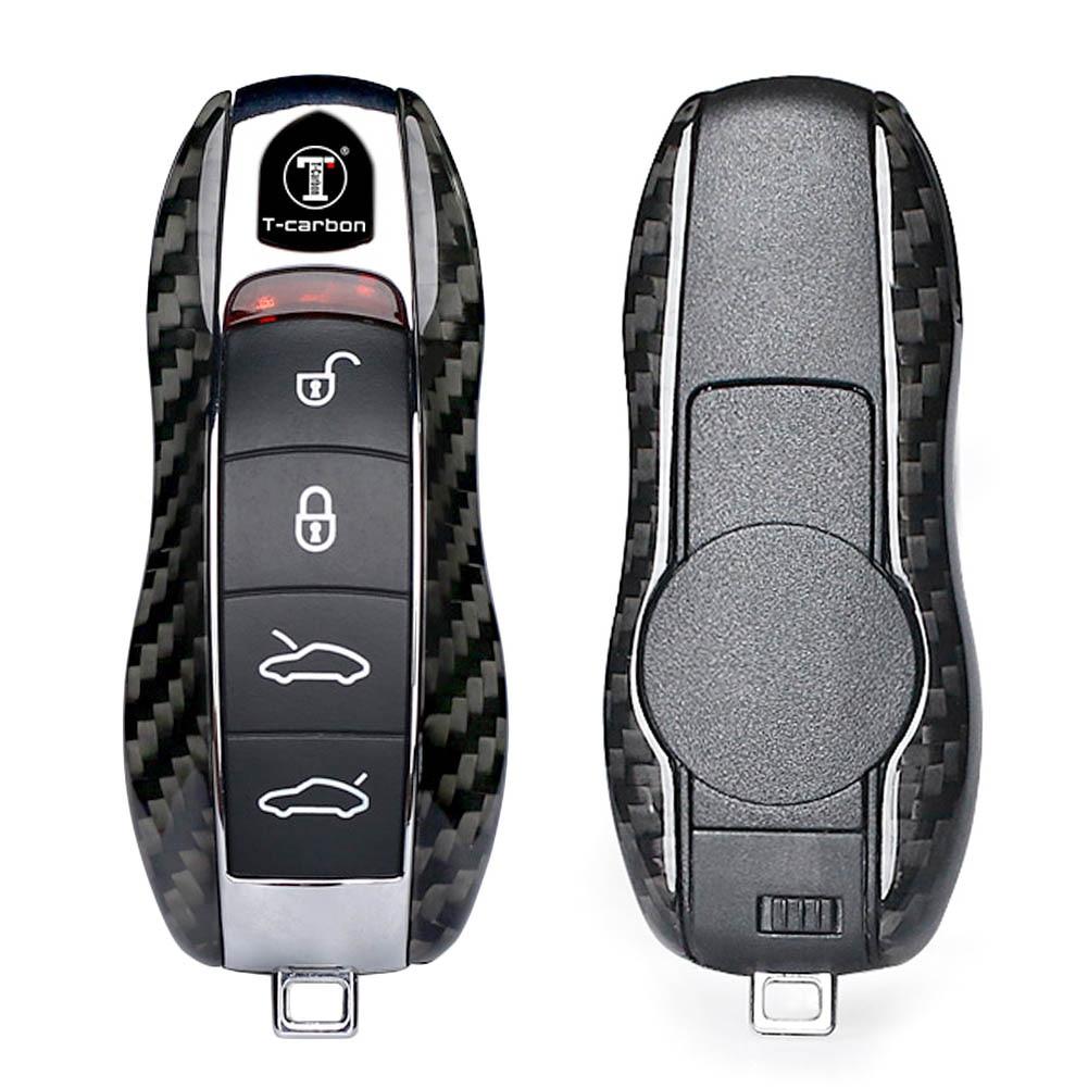 Couverture de porte-clés coquille à distance de voiture pour Porsche 911 Cayenne Panamera Fiber de carbone