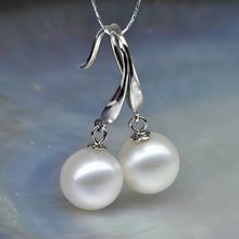 PERFECT ROUND WHITE 8-9 MM AAA SOUTH SEA PEARL DANGLE EARRING 14K WHITE GOLD