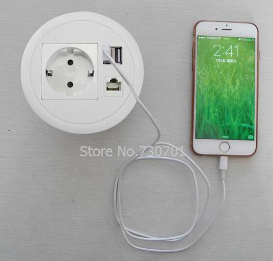 EU Schreibtisch Kabeldurchführung Mit 1 EU Power 1 Internet Dual Lade USB  Für Home Office Einfache