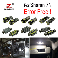 17pcs LED license plate lamp + Decoder for Volkswagen for Sharan 7N (2011 2018) LED bulb interior light full kit package
