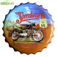 Speedway Motorcyle 40cm Bottle Cap Metal Tin Sign Vintage Home Decor Tin Sign Wall Decor Metal Sign 3D Wall Decor Metal Plaque
