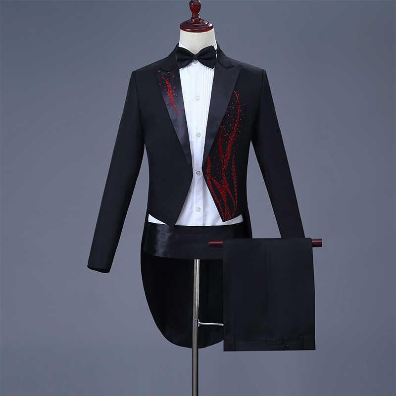 Cozimastarla для мужчин s свадебное платье костюмы хор певица этап волшебный костюм жениха смокинг, фрак черный (куртка + брюки пояс лук)