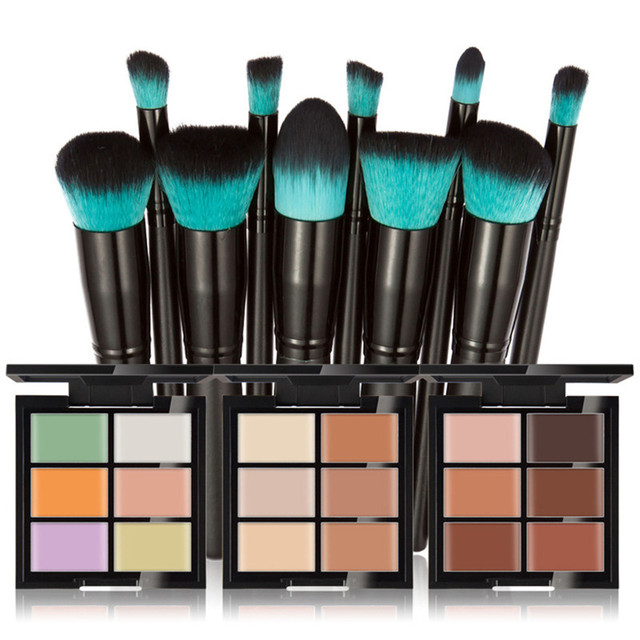 Six color concealer render cream + 10 black handle blue head makeup brush Christmas gift Holiday gifts His girlfriend birthday