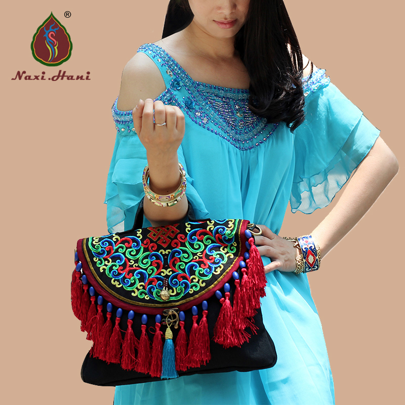 HOT Naxi.Hani  brand pure handmade red tassel women handbags Exotic black canvas embroidery cover messenger shoulder bags a three dimensional embroidery of flowers trees and fruits chinese embroidery handmade art design book