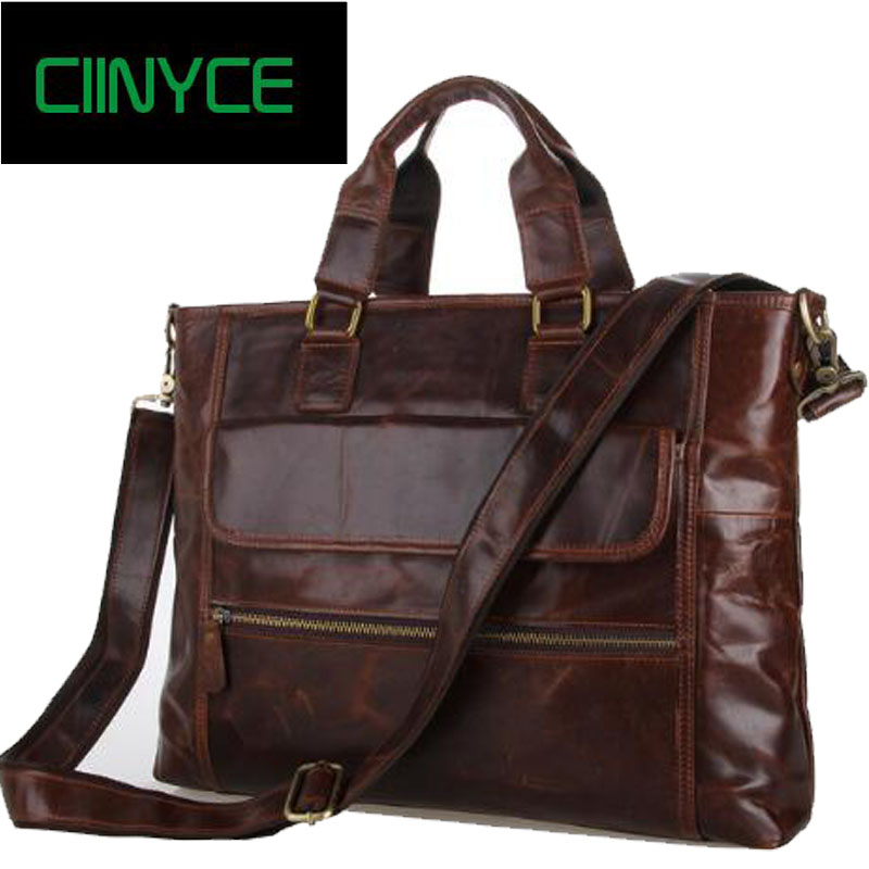 2016 New Arrival Zipper 100% Real Cow Leather Man Bags Business Wax Oil Vintage Business Laptop Briefcases Male Portfolio Solid aetoo the new oil wax cow leather bags real leather bag fashion in europe and america big capacity of the bag