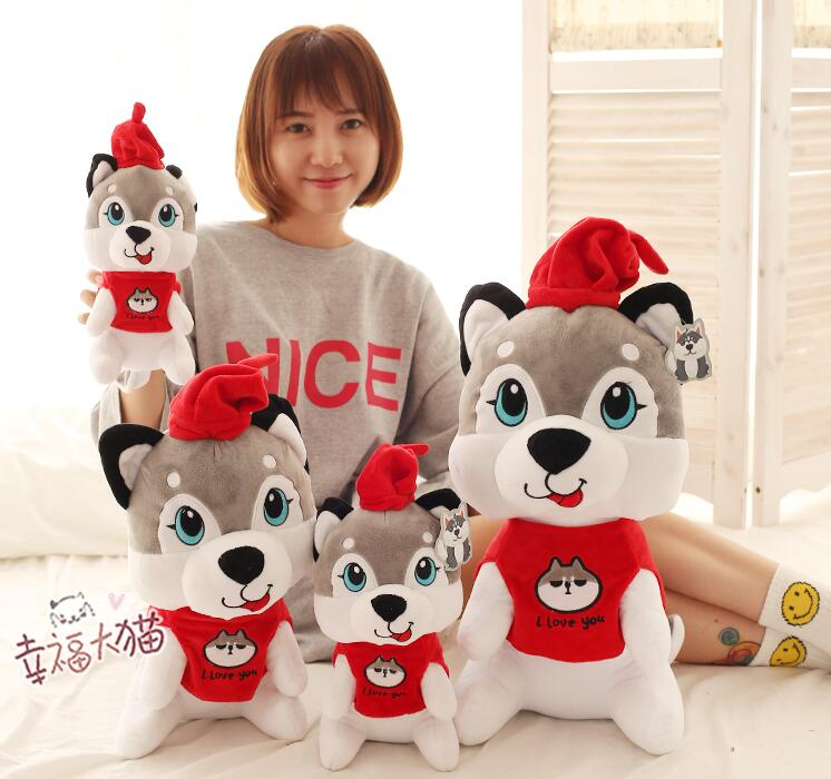 1pc 25cm 30cm 40cm festive hat Husky NEW YEAR Christmas kids gift plush doll novelty stuffed toy