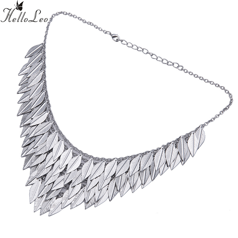 2017 Brand New Big Luxury Silver Statement Pendant Choker Necklace Vintage Maxi Chain leaf tassel Feather Women Accessories