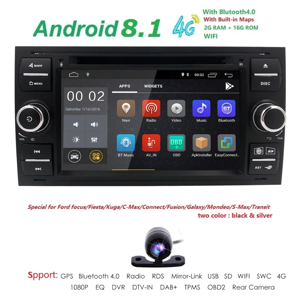 Voiture DVD Radio 2din Android 8.1 DAB + Au Tableau de Bord Pour Ford Transit Point Connecter S-MAX Kuga Mondeo Avec QuadCore wifi 4g GPS Bluetooth
