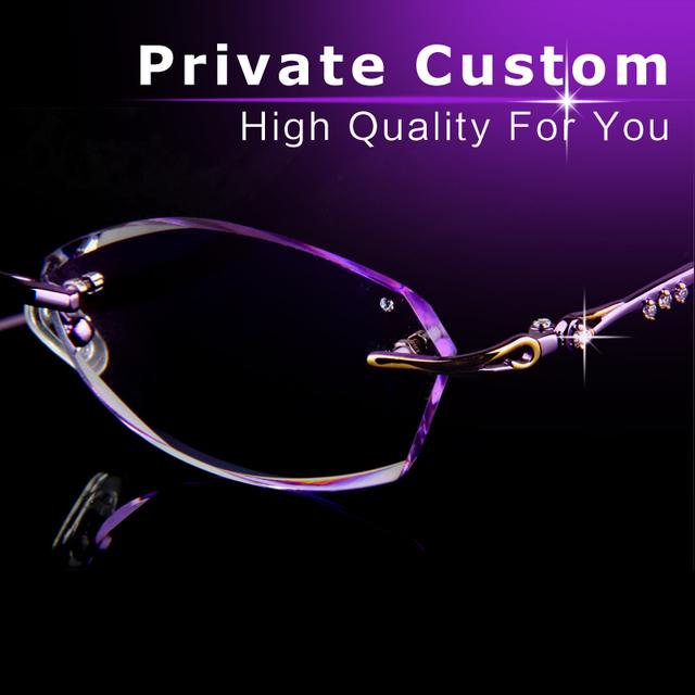 Óculos de luxo de alta qualidade mulher Sem Moldura óculos Anti-fadiga lunetas monture femme frame ótico óculos de grau 711