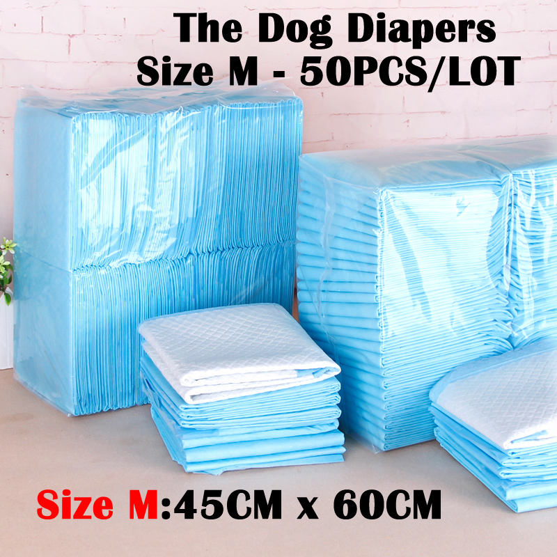 Pet Dog Diapers Size (45cmx60cm) 50 Pieces Dog Cleaning Supplies Thickening Absorbent Disposable Diapers Dogs Antibiotic Diapers