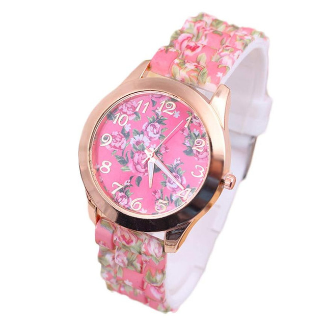 Montre femme Women Leisure Time Rose Analog Silica Gel Wrist Watch Simple casual flower pattern ladies watches female bracelet