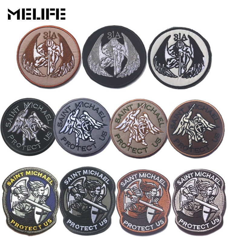 Hunting Accessories Embroidery Patch Emblem Badge Guardian Angel St. Michael Protection Tactical Military Morale Patches