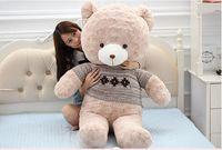 stuffed toy large 120cm teddy bear plush toy gray sweater bear creative soft doll hug pillow Christmas gift b1290