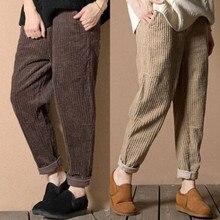 3ff9cec62ba Plus Size S-3XL 2018 Women Corduroy Pants Autumn Winter Vintage Fashion  Straight Trousers Casual