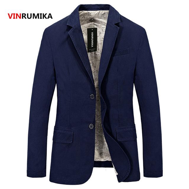 2017 Spring men's fashion casual brand blazer coat autumn man 100% pure cotton blue blazers coats gentry slim suits jacket S-4XL