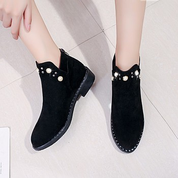 Women Boots Autumn Winter Shoes 2018 Rhinestone Classic Suede Leather Boots Female Thick Heel Ankle Women's Shoes size 35-40 Boots