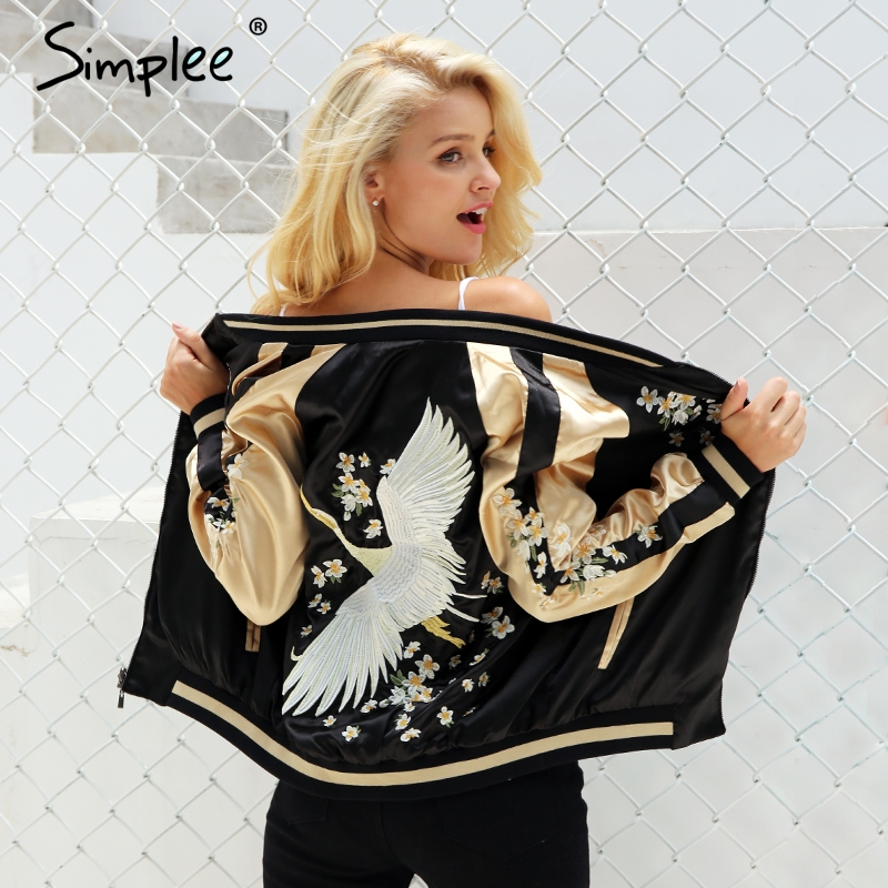 Simplee Vintage Embroidery Basic Jacket Coat Autumn 2018 Street Satin Bomber Jacket Women Reversible Baseball Jackets Sukajan